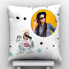 GiftsOnn Salfie Queen Personalized Satin Cushion With Cover