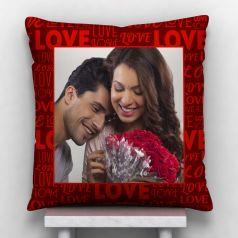 GiftsOnn Love Text Personalized Satin Cushion - White